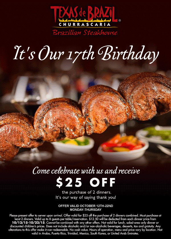 Texas de Brazil Coupon February 2017 $25 off a couple dinners at Texas de Brazil steakhouse