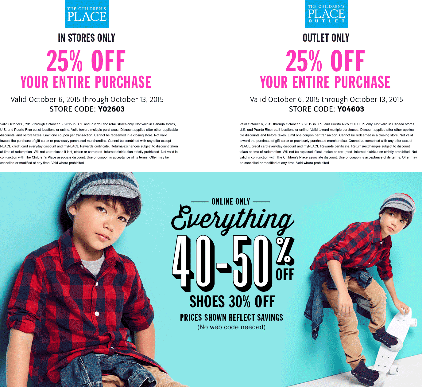 The Childrens Place Coupon November 2018 25% off at The Childrens Place & outlet locations, or 40-50% everything online