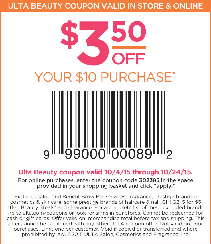 Ulta Coupon March 2017 $3 off $10 at Ulta beauty, or online via promo code 302385