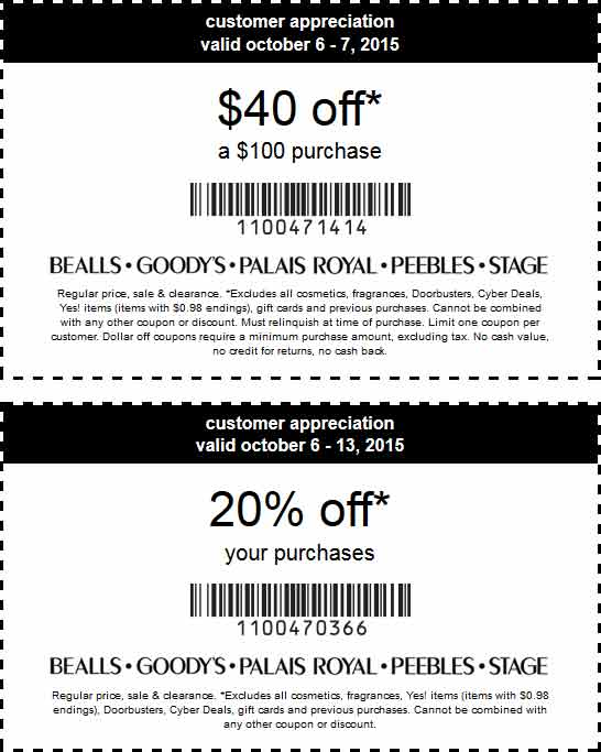 Bealls Coupon January 2019 $40 off $100 & 20% off at Bealls, Goodys, Palais Royal, Peebles & Stage stores, or $10 off $50 online via promo code FALLSALE