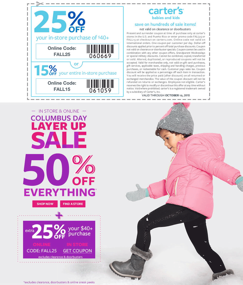 Carters Coupon April 2018 50% off everything + extra 25% off $40 at Carters, or online via promo code FALL25