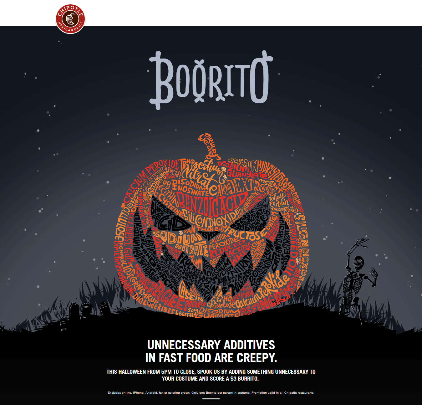 Chipotle Coupon March 2017 $3 burritos in costume Halloween at Chipotle