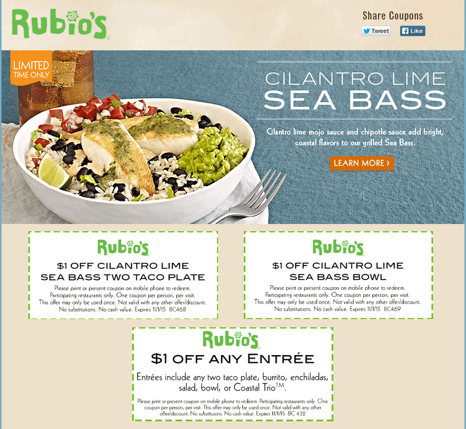 Rubios Coupon October 2016 $1 off an entree at Rubios fish tacos & Mexican food