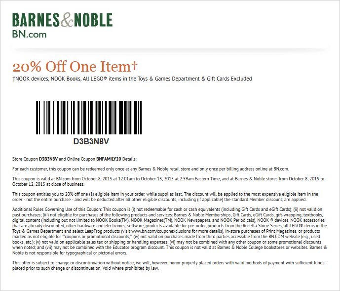 Barnes & Noble Coupon November 2017 20% off a single item at Barnes & Noble, or online via promo code BNFAMILY20