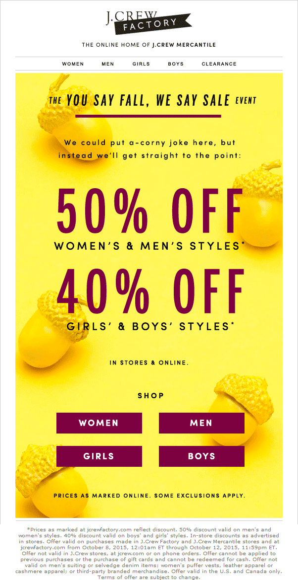 J.Crew Factory Coupon February 2017 50% off at J.Crew Factory, ditto online