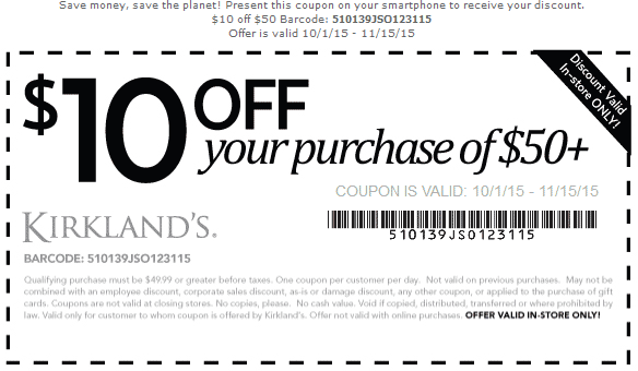 Kirklands Coupon July 2017 $10 off $50 at Kirklands