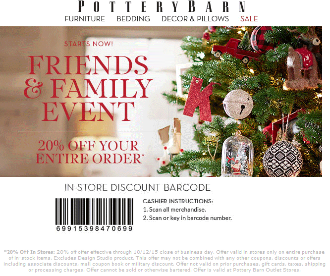 Pottery Barn Coupon May 2018 20% off everything at Pottery Barn