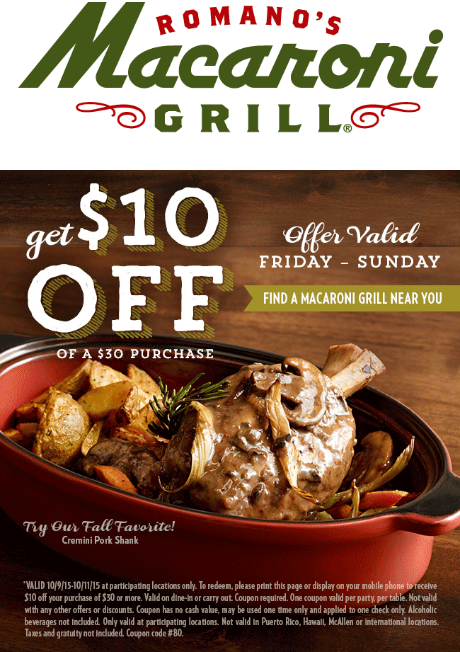 Macaroni Grill Coupon May 2017 $10 off $30 this weekend at Macaroni Grill