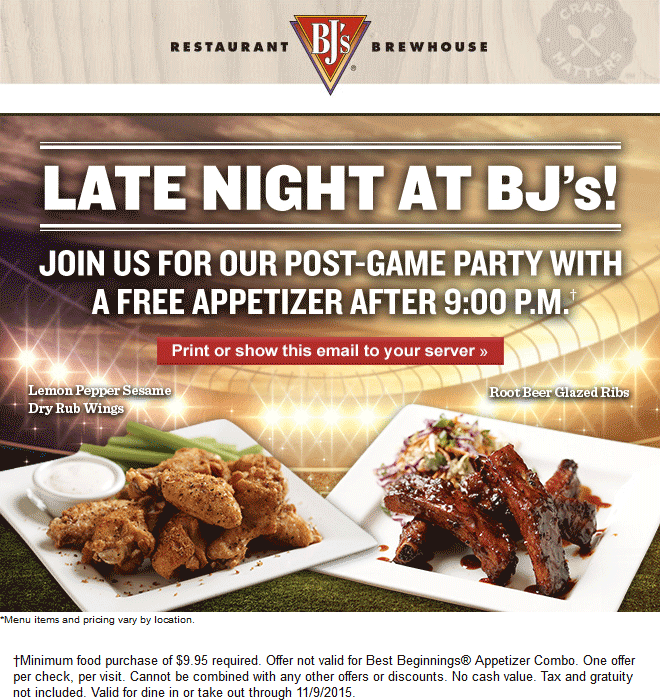 BJs Restaurant Coupon February 2017 Free appetizer with your entree after 9pm at BJs Restaurant