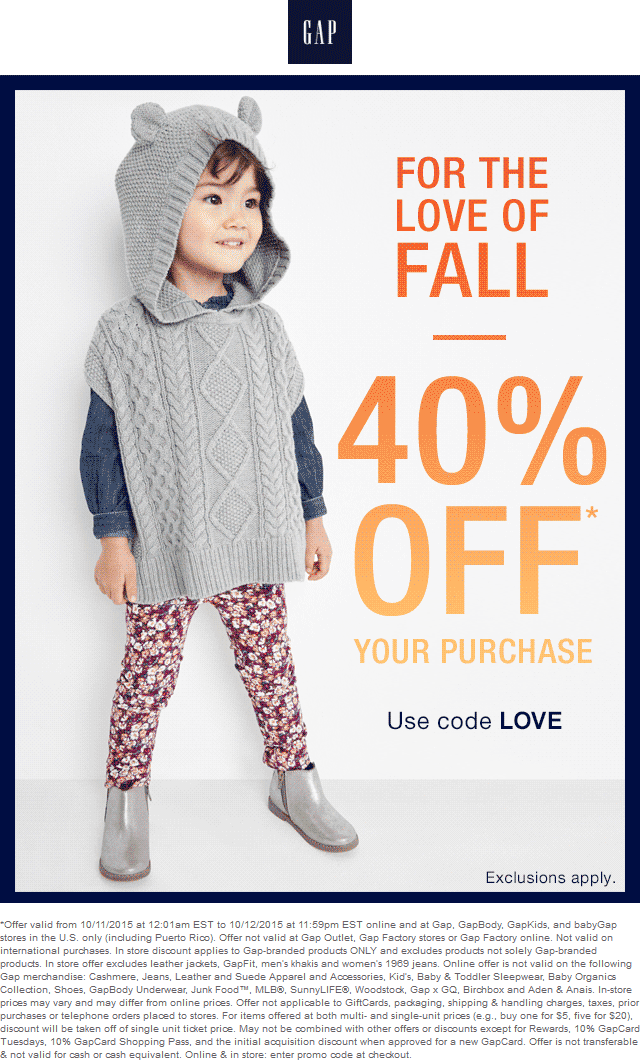 Gap Coupon March 2018 40% off at Gap, GapBody, GapKids, and babyGap, or online via promo code LOVE