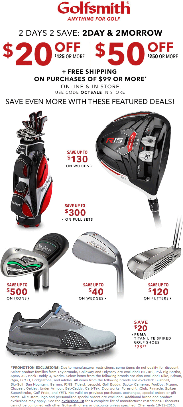 Golfsmith Coupon September 2017 $20 off $125 & more at Golfsmith, ditto online with free shipping