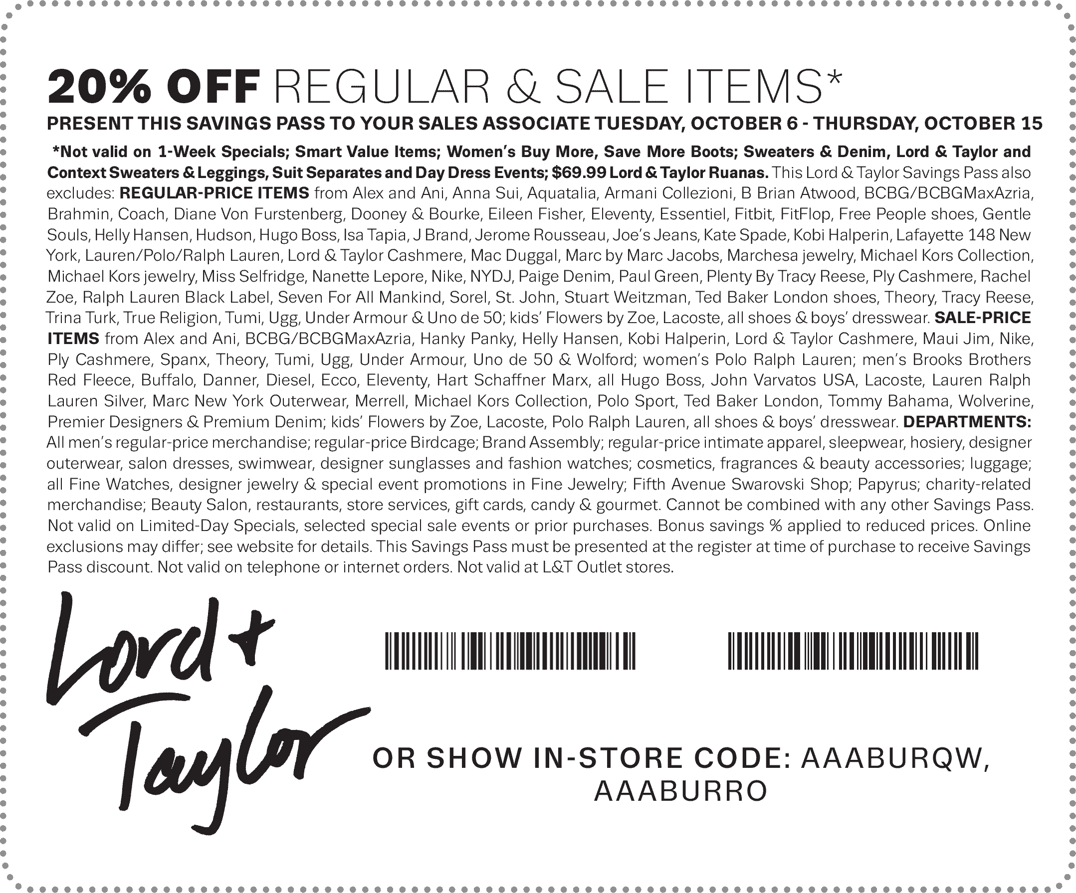 Lord & Taylor Coupon December 2016 Extra 20% off at Lord & Taylor, or online via promo code COLUMBUS
