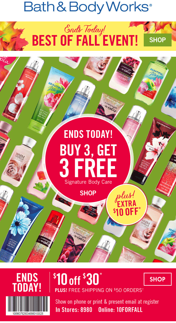 Bath & Body Works Coupon June 2018 $10 off $30 today at Bath & Body Works, or online via promo code 10FORFALL