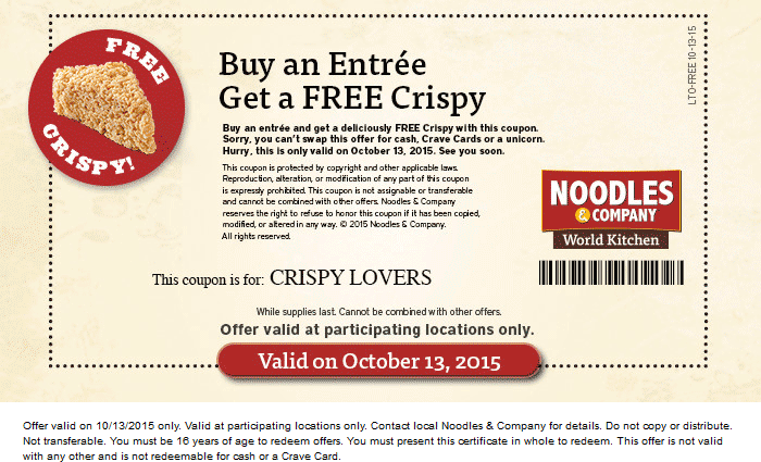 Noodles & Company Coupon July 2018 Free crispy with your entree Tuesday at Noodles & Company