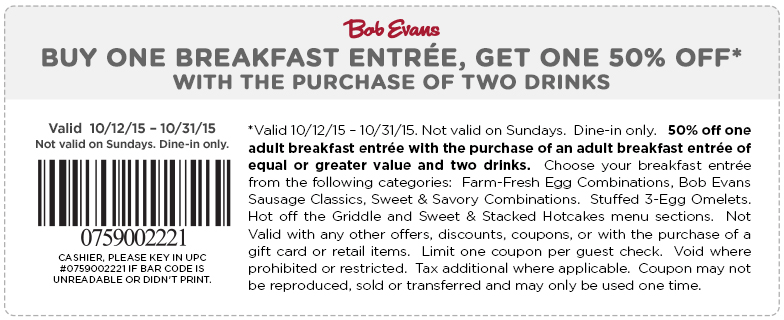 Bob Evans Coupon February 2017 Second breakfast 50% off at Bob Evans