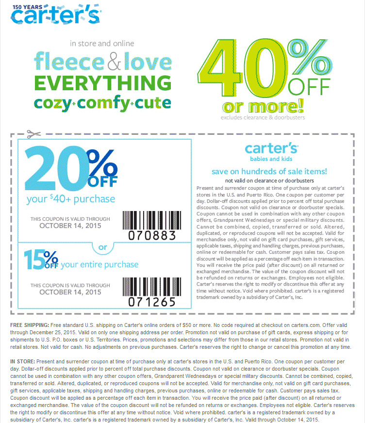 Carters Coupon October 2016 40% off everything + 20% off $40 at Carters, ditto online
