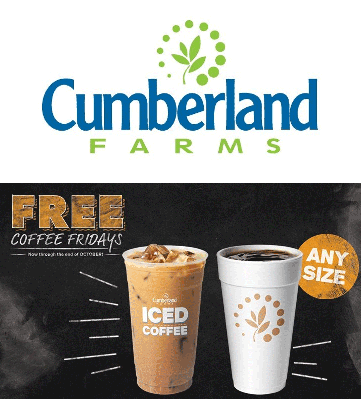 Cumberland Farms Coupon October 2018 Free coffee Fridays at Cumberland Farms gas stations