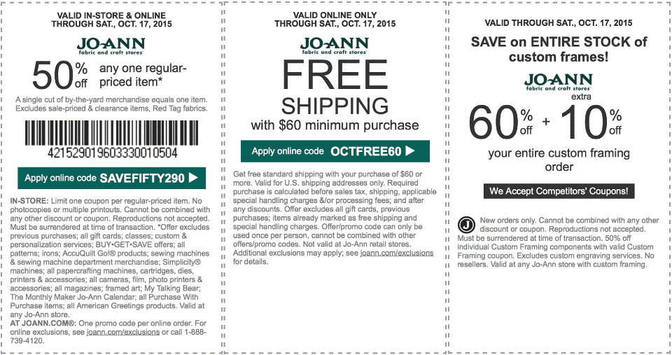 Jo-Ann Fabric Coupon April 2018 50% off a single item at Jo-Ann Fabric, or online via promo code SAVEFIFTY290