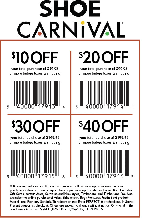 Shoe carnival coupons in store