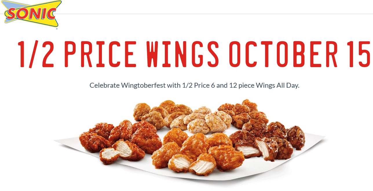 Sonic Drive-In Coupon October 2016 50% off wings Thursday at Sonic Drive-In