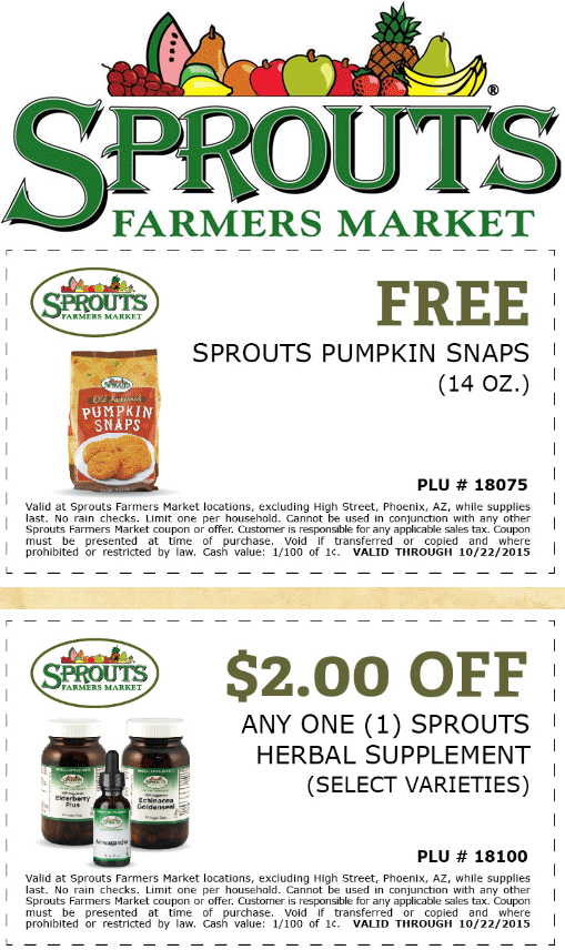 Sprouts Farmers Market Coupon October 2016 Free pumpkin snap cookies at Sprouts Farmers Market