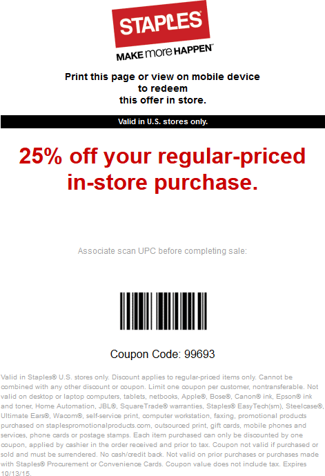 Staples Coupon March 2018 25% off today at Staples