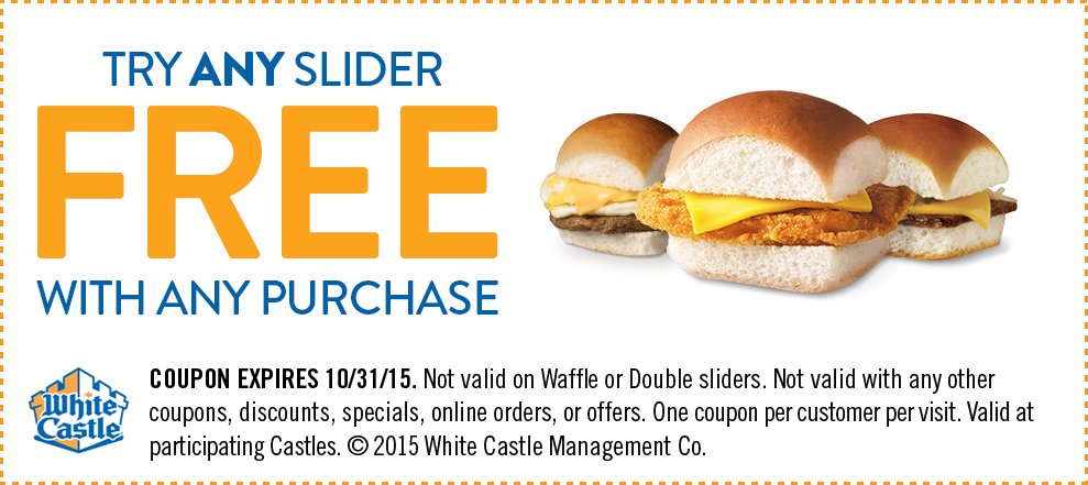 White Castle Coupon December 2016 You are now craving a free slider with any order at White Castle