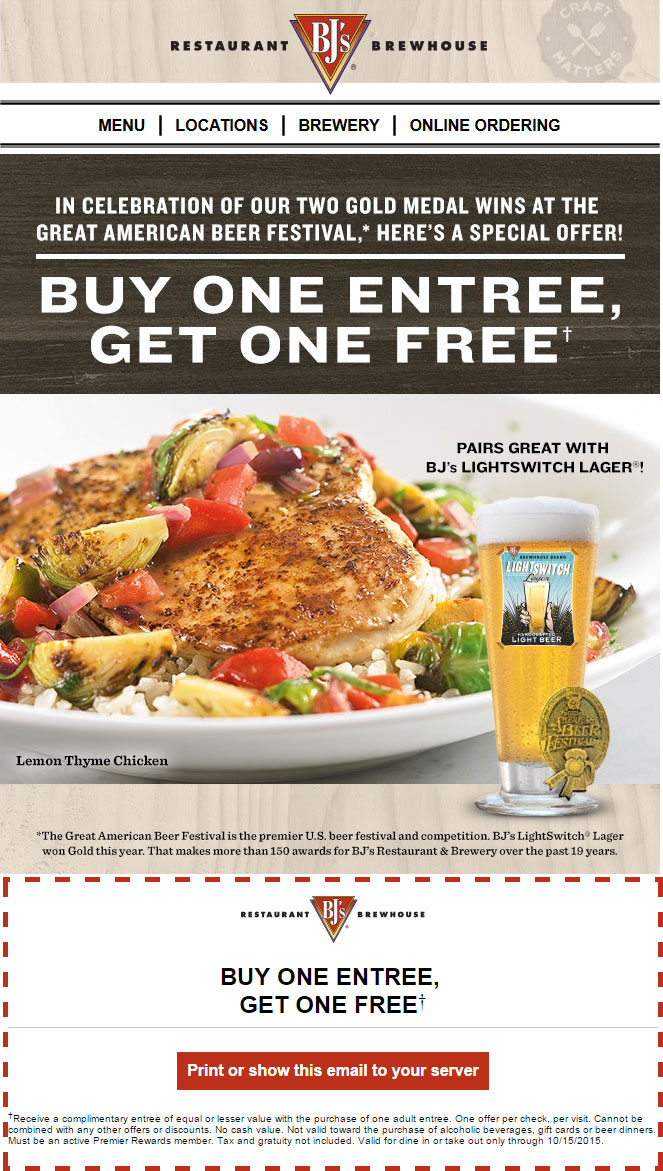 BJs Restaurant Coupon December 2016 Second entree free today at BJs Restaurant & brewhouse