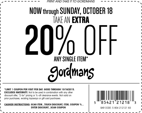 Gordmans Coupon July 2018 20% off a single item at Gordmans