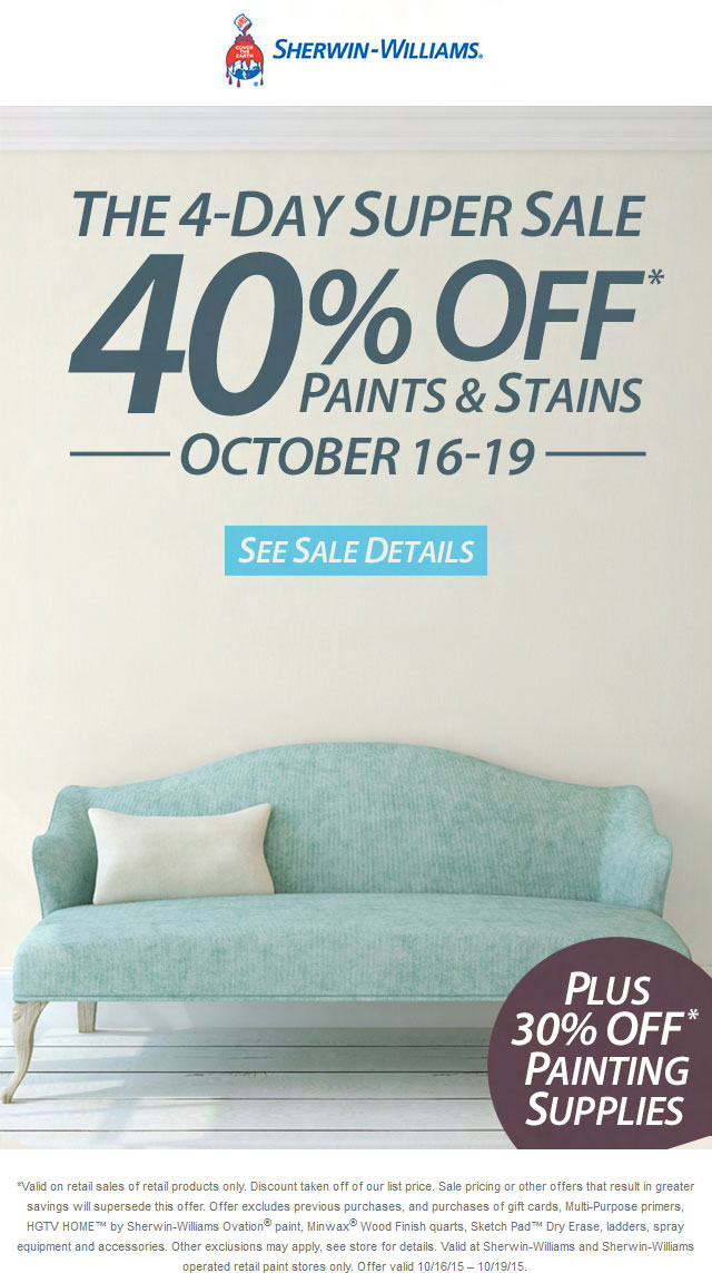 Sherwin Williams Coupon October 2016 40% off paints & stains at Sherwin Williams, ditto online