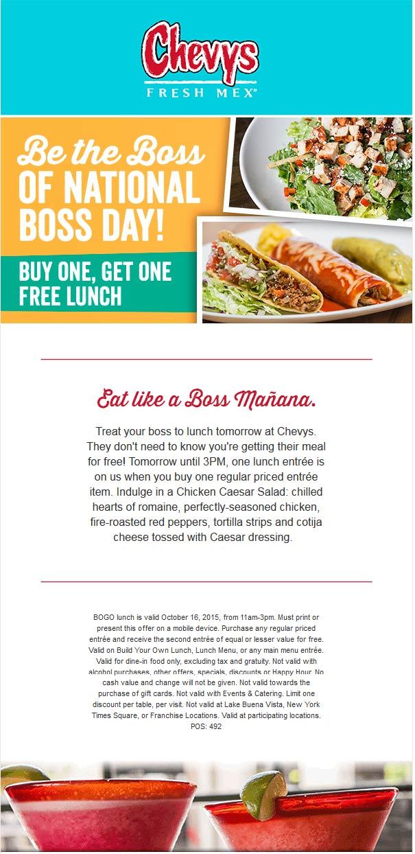 Chevys Coupon November 2017 Second lunch free today at Chevys Fresh Mex