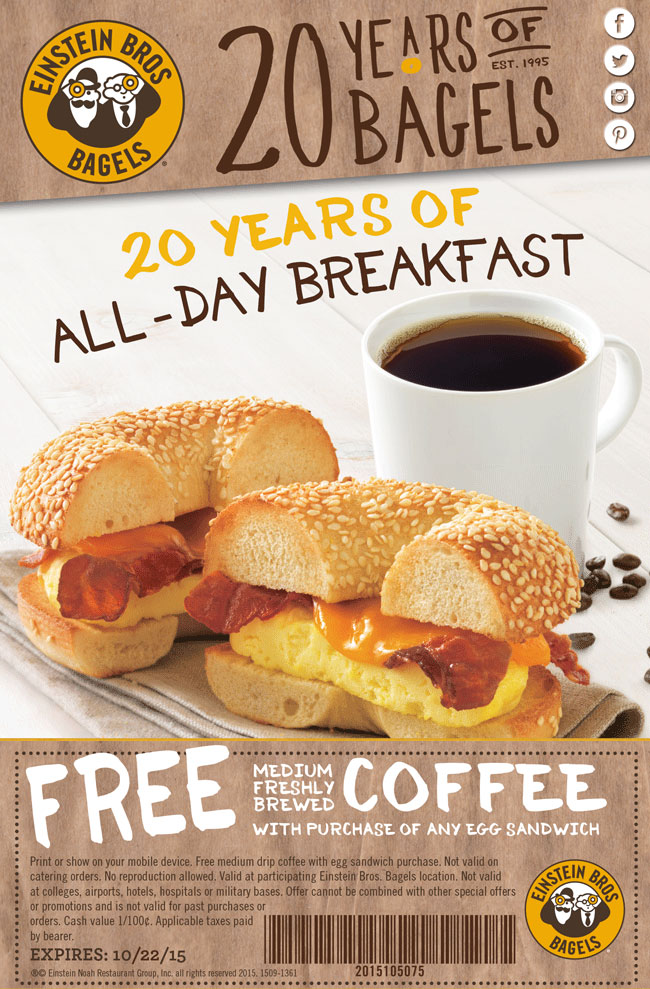 Einstein Bros Bagels Coupon November 2018 Free coffee with your egg sandwich at Einstein Bros Bagels