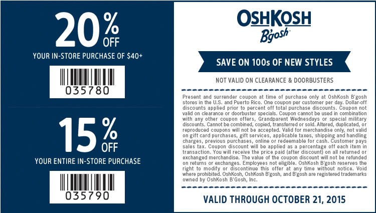 OshKosh Bgosh Coupon May 2018 15-20% off at OshKosh Bgosh, or online via promo code 15OFFOCT