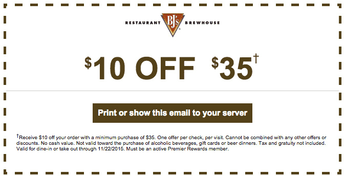 BJs Restaurant Coupon March 2017 $10 off $35 at BJs Restaurant & brewhouse