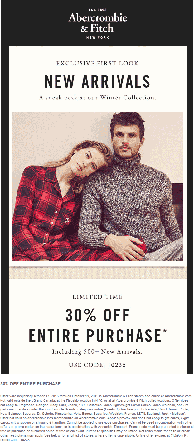 Abercrombie & Fitch Coupon March 2019 30% off at Abercrombie & Fitch, or online via promo code 10235