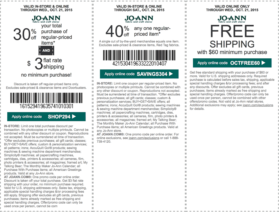 Jo-Ann Fabric Coupon April 2017 40% off a single item & more at Jo-Ann Fabric, or online via promo code SAVINGS304