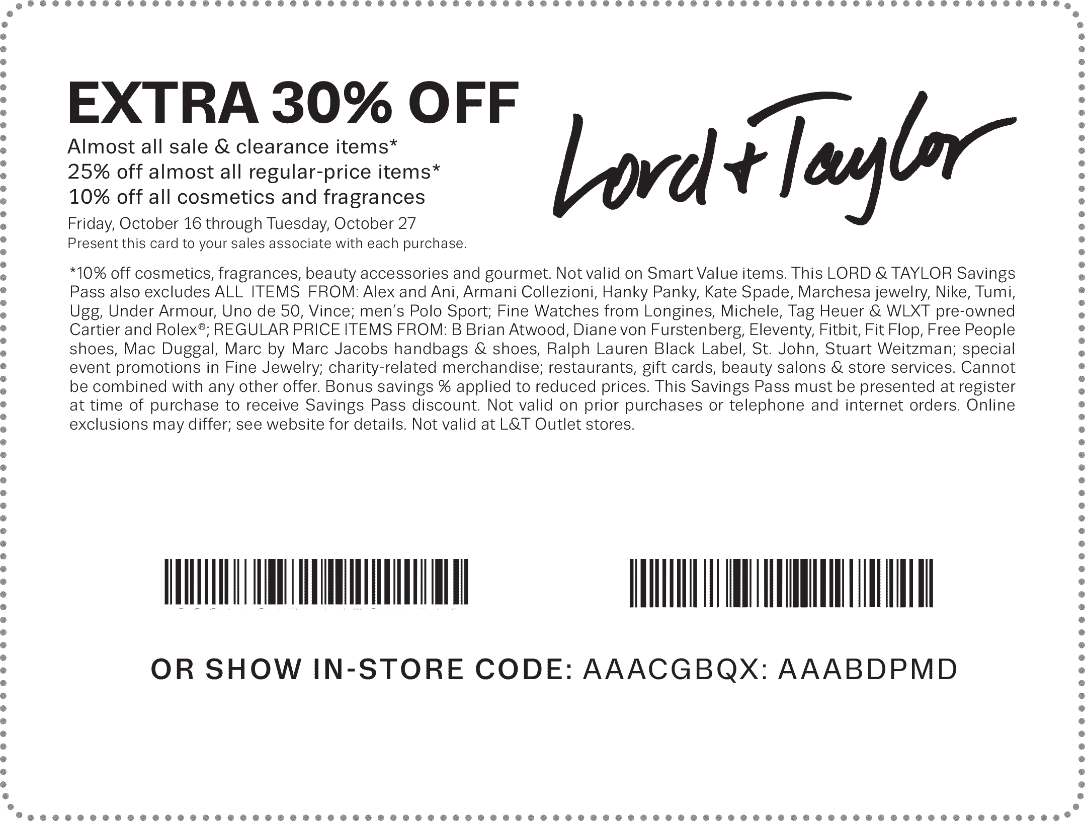 Lord & Taylor Coupon October 2016 Extra 30% off at Lord & Taylor, or online via promo code FRIENDS