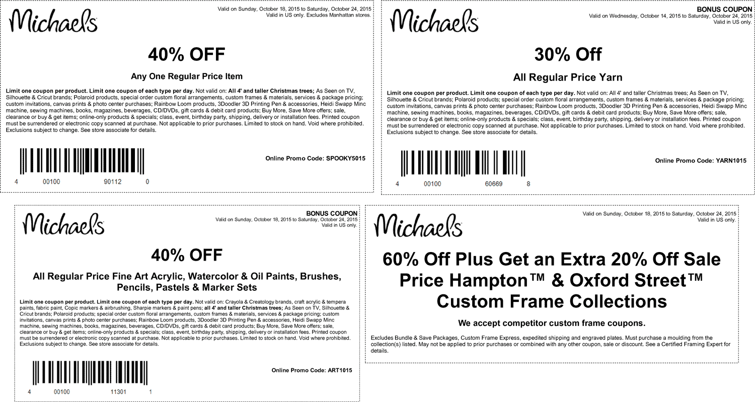 Michaels Coupon April 2017 40% off a single item & more at Michaels, or online via promo code SPOOKY5015