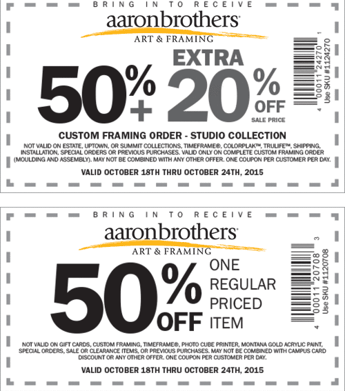 Aaron Brothers Coupon December 2016 50% off a single item at Aaron Brothers