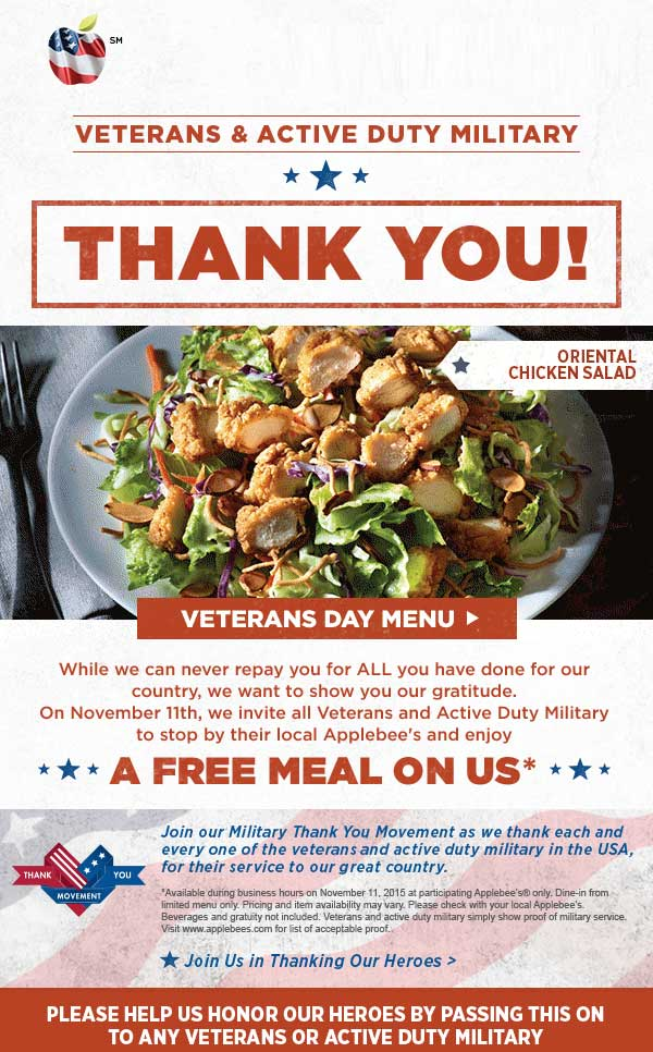 Applebees Coupon February 2019 Veterans eat free the 11th at Applebees