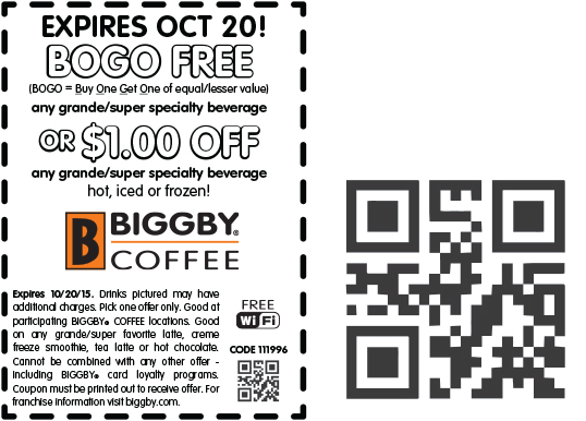 Biggby Coffee Coupon February 2019 Second coffee free or $1 off at Biggby Coffee
