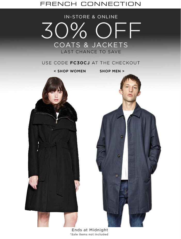 French Connection Coupon July 2018 30% off jackets today at French Connection, or online via promo code FC30CJ