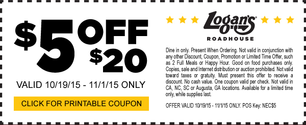 Logans Roadhouse Coupon December 2018 $5 off $20 at Logans Roadhouse restaurants