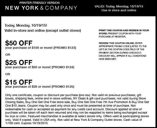 New York & Company Coupon October 2016 $15 off $30 & more today at New York & Company, or online via promo code 8125