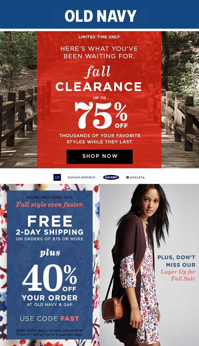 Old Navy Coupon September 2018 40% off online today at Old Navy & Gap via promo code FAST