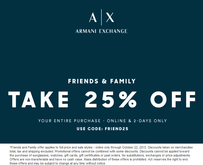 Armani Exchange Coupon April 2017 25% off online at Armani Exchange via promo code FRIEND25