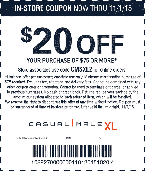 Casual Male XL Coupon January 2018 $20 off $75 at Casual Male XL, or online via promo code CMSXL2