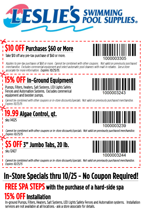 Leslies Coupon October 2016 $10 off $60 & more at Leslies swimming pool supplies