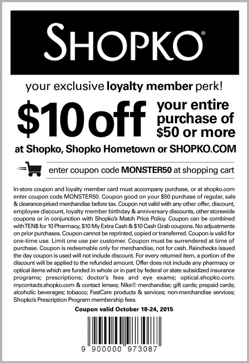 Shopko Coupon September 2017 $10 off $50 at Shopko, or online via promo code MONSTER50