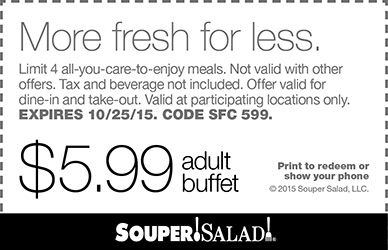 Souper Salad Coupon February 2019 $6 bottomless buffets at Souper Salad